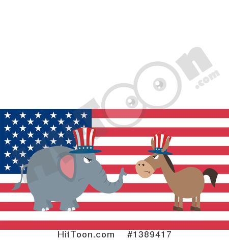 Politics Clipart #1389417: Flag Design Political Democratic Donkey.