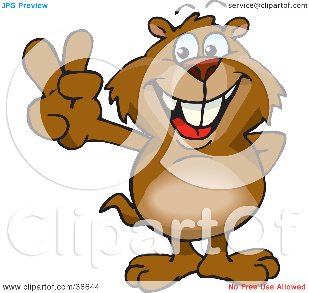 Clipart Illustration of a Peaceful Gopher Smiling And Gesturing.