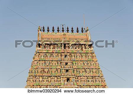 "Stock Photo of ""Gopuram gate tower, Meenakshi Amman Temple."