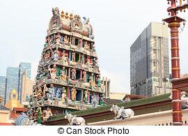 Stock Photo of Gopuram (tower) of Hindu temple.
