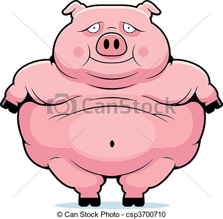 Vector Clipart of Fat Pig.
