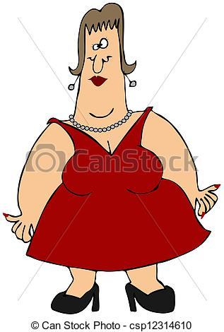 Clipart of Woman with fat arms.