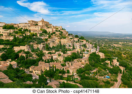 Stock Photo of Gordes medieval village. Typical small town in.