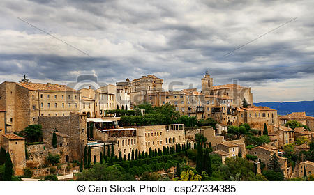 Pictures of Medieval hilltop town of Gordes. Provence. France.