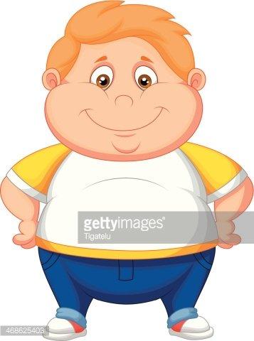 Fat boy cartoon posing Clipart Image.