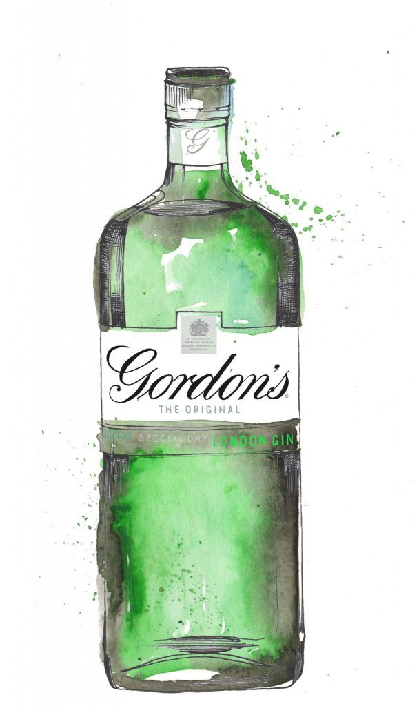 Gordons Gin Bottle Watercolour Illustration. Click the.