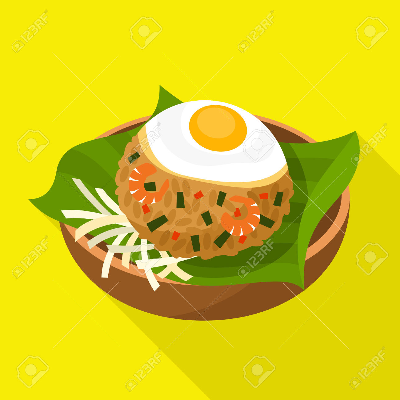 Nasi Goreng Icon Indonesian Fried Rice Royalty Free Cliparts.