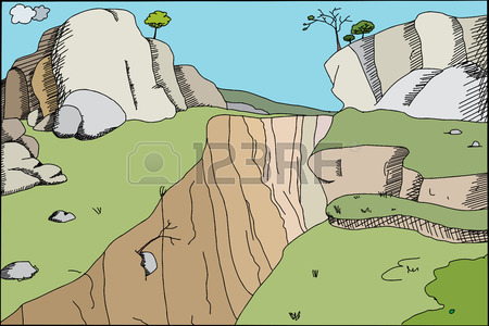 Beautiful Mountains With Steep Canyon Illustration Background.