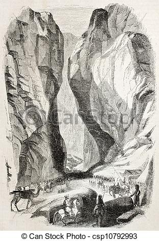 Stock Illustration of Indian gorge.