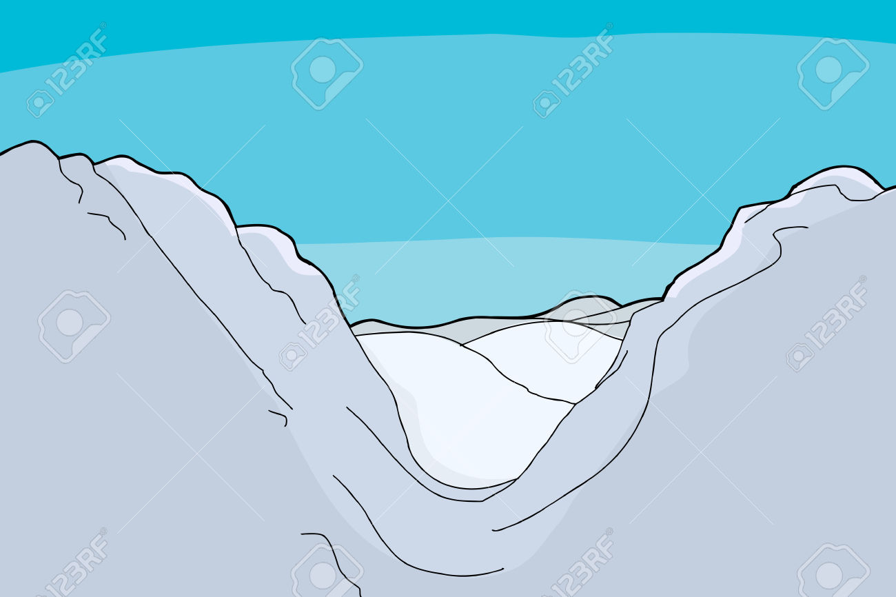 Winter Mountain Valley Background Cartoon Illustration Royalty.