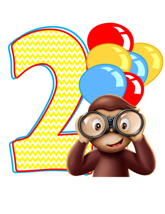 Curious george birthday clip art.