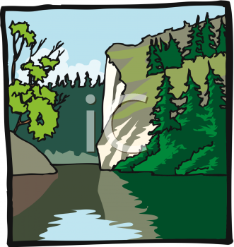 Royalty Free Clip Art Image: River Running Through a Gorge.