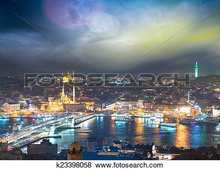 Pictures of Istanbul, Turkey. Gorgeous view of city skyline at.