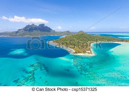 Stock Photo of french polynesia from helicopter.