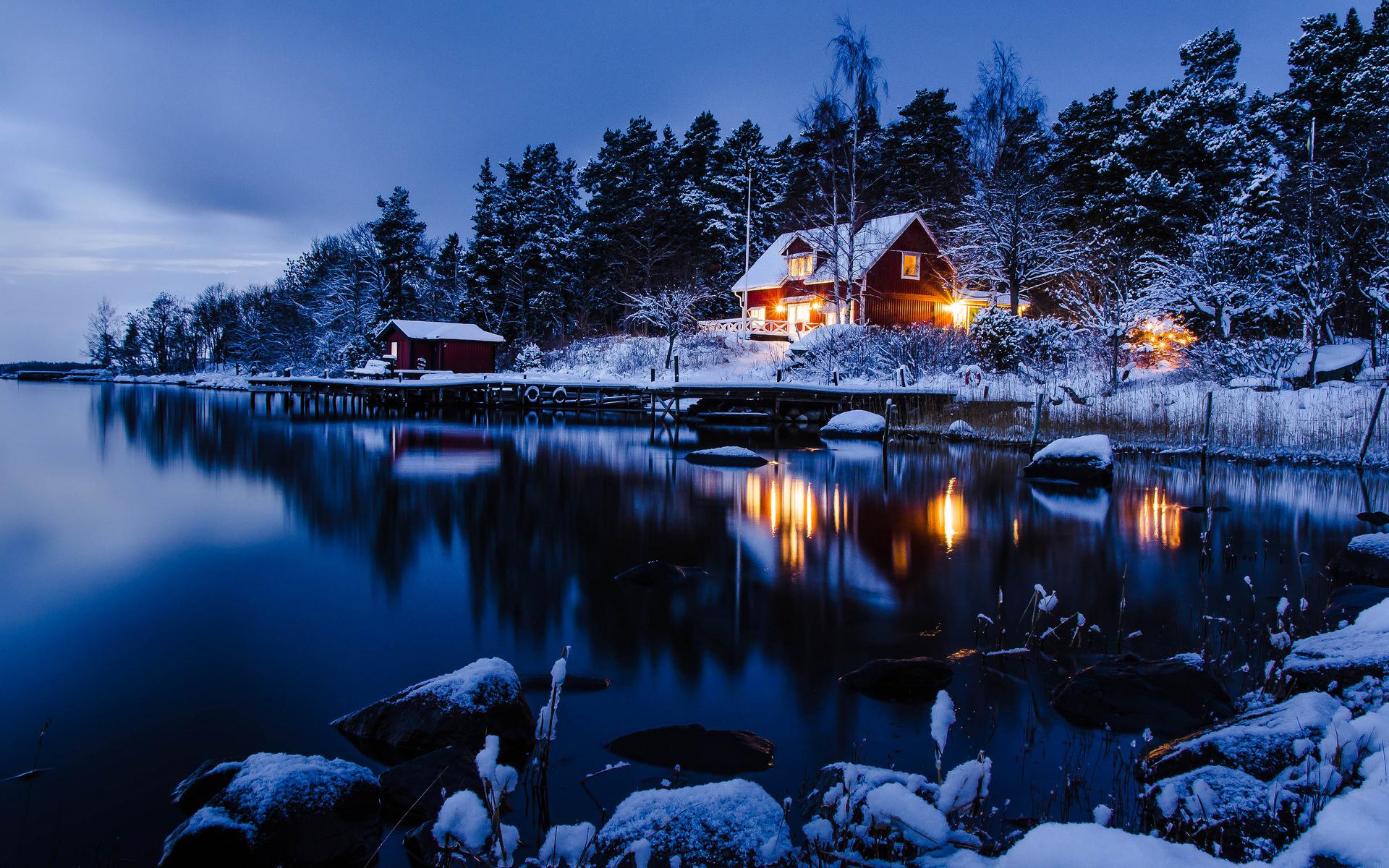 Winter Night Scenes Wallpaper.