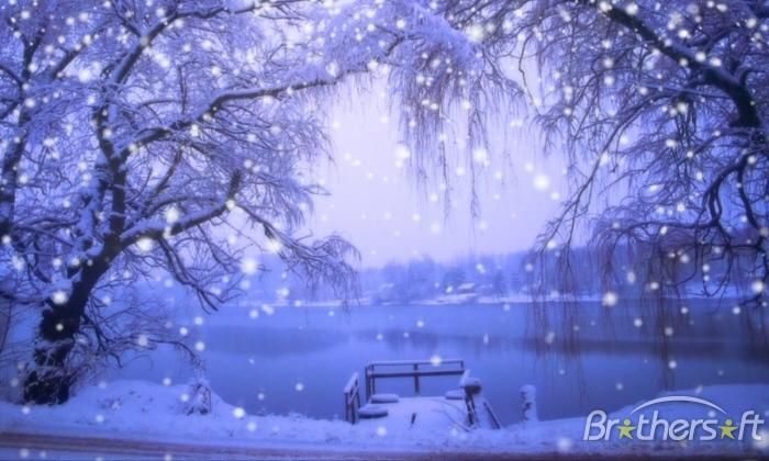 Free Animated Snow Scene Wallpaper.