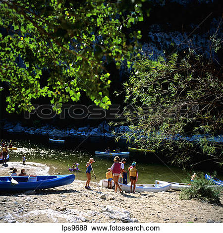 Pictures of PEOPLE WITH CANOES ON ARDECHE RIVER BANK GORGES DE L.