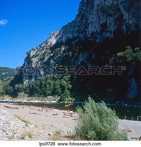 Pictures of PEOPLE ON BEACH AT ARDECHE RIVER BANK GORGES DE L.