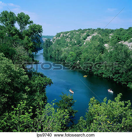 Stock Photography of CANOES ON ARDECHE RIVER AT DEFILE DE RUOMS.