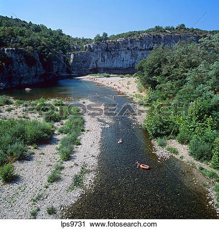 Stock Photography of CHASSEZAC RIVER AND GORGES ARDECHE FRANCE.