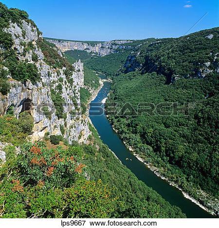 Picture of HAUTE CORNICHE CLIFFS AND RIVER GORGES DE L'ARDECHE.