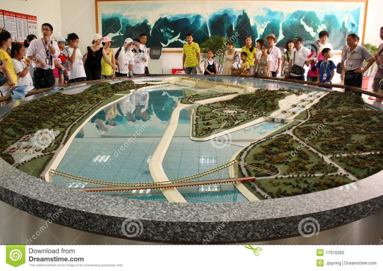 Model Of Three Gorges Dam With Tourists Editorial Image.