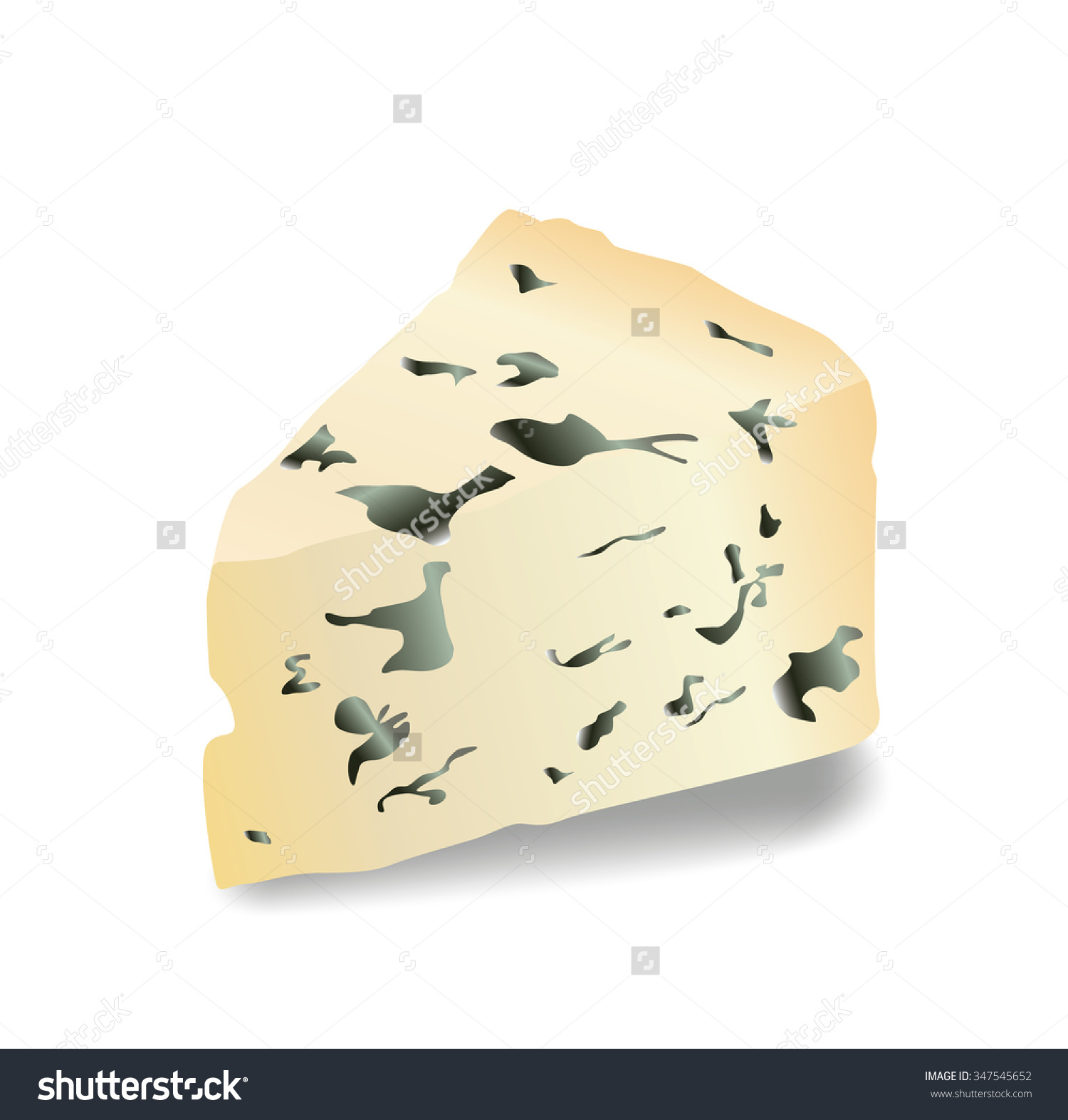 Simple Realistic White Roquefort Illustration Front Stock Vector.