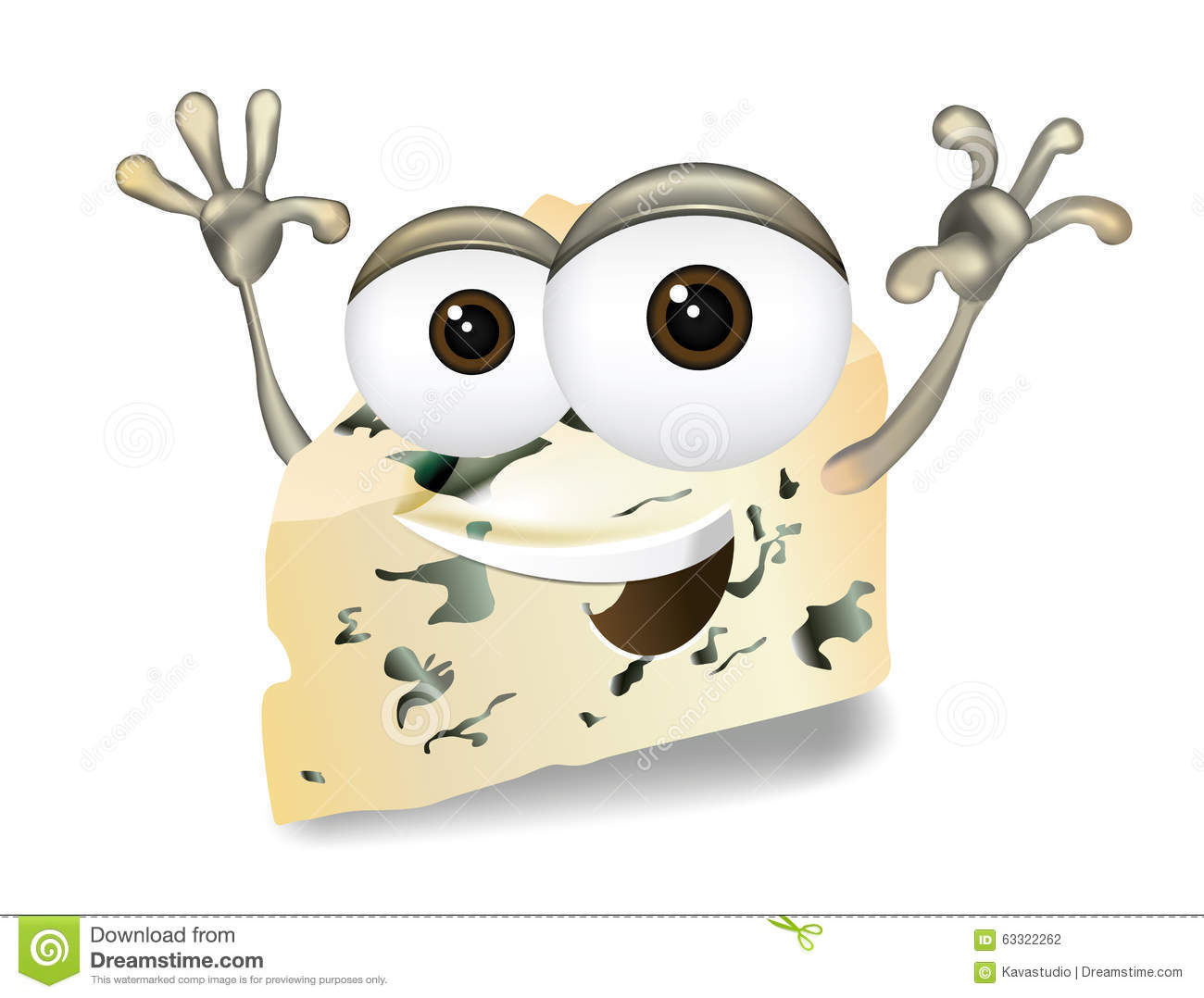 Happy Roquefort, Gorgonzola Or Stilton Vector Cheese Cartoon.