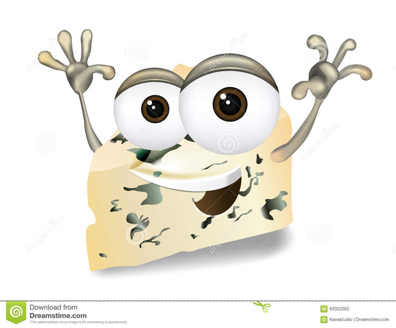 Happy Roquefort, Gorgonzola Or Stilton Vector Cheese Cartoon.