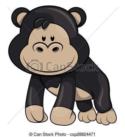 Vectors Illustration of Baby Gorilla csp28824471.