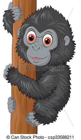 Vector Clip Art of Cute baby gorilla climbing tree.