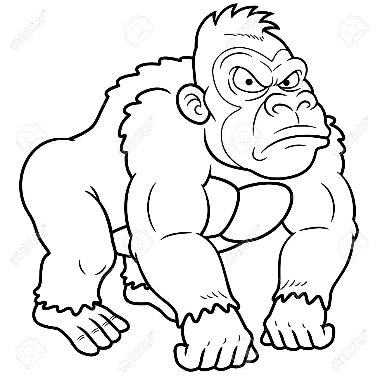 Gorilla clipart black and white » Clipart Station.