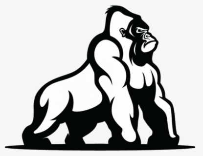 Free Gorilla Black And White Clip Art with No Background.