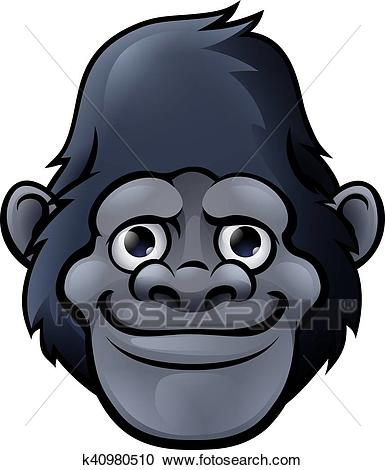 Cartoon Cute Gorilla Face Clipart.