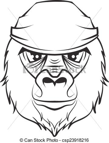 Gorilla Face Clipart Black And White.