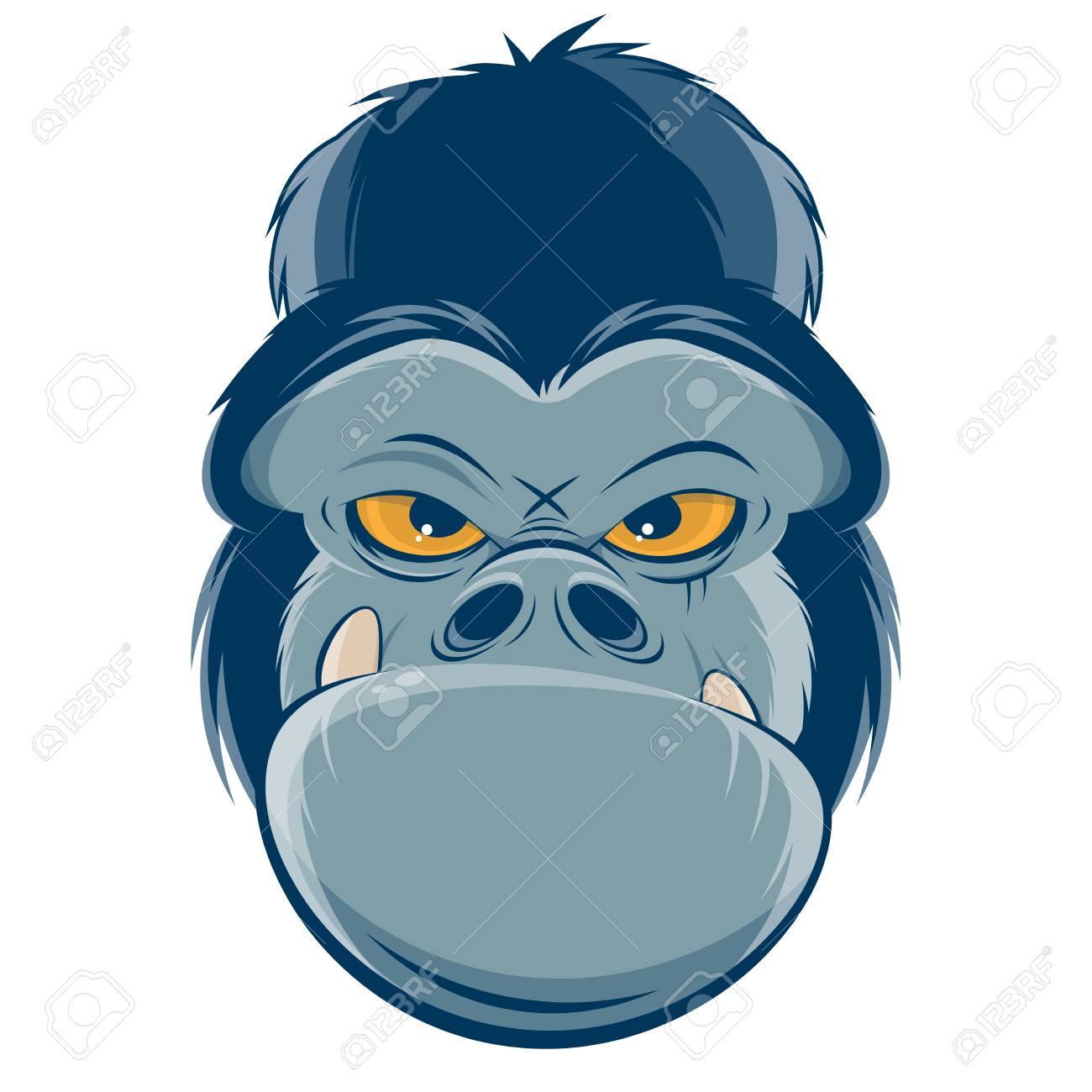 angry gorilla head clipart.