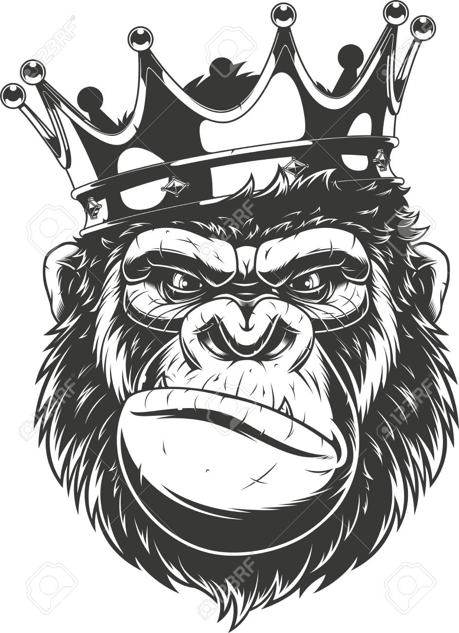 Vector illustration, ferocious gorilla head on with crown, on...