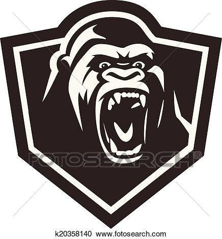 Gorilla head Clipart.