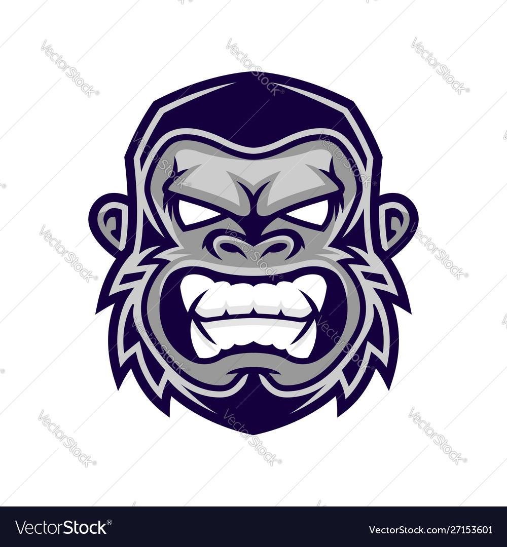 Gorilla head monkey head ape face logo.