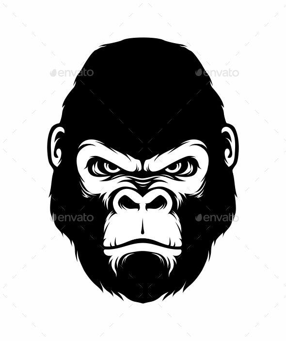 Gorilla Head Silhouette Style.