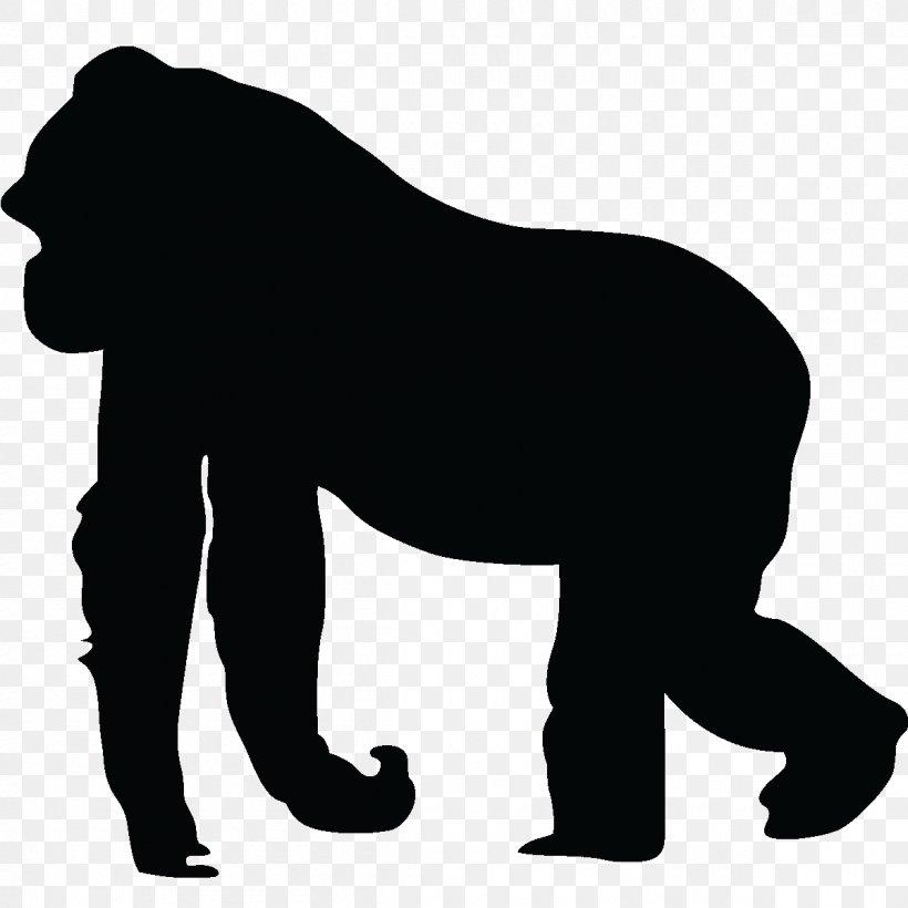 Gorilla Silhouette Ape Clip Art, PNG, 1200x1200px, Gorilla.
