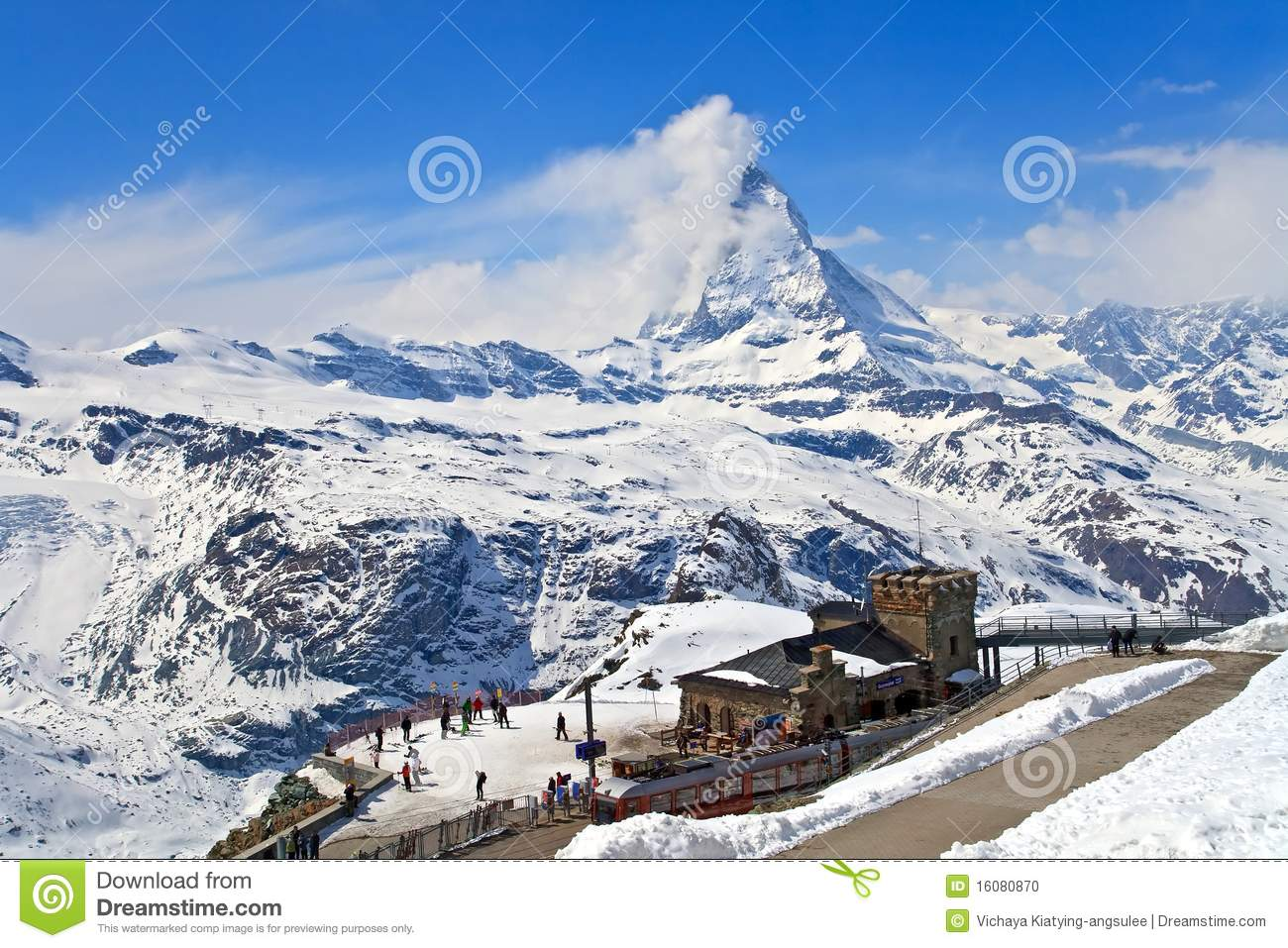 Matterhorn Peak From Gornergrat Mountain, Switzerland Stock Photo.
