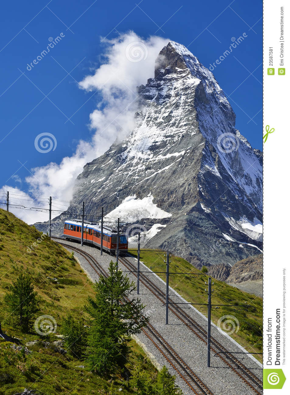 Train To Matterhorn, Zermatt Railway To Gornergrat Stock Image.