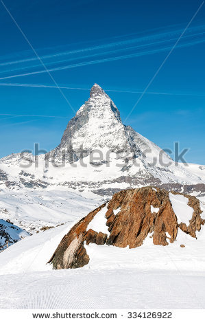 Landscape Matterhorn Peak Logo Toblerone Chocolate Stock Photo.