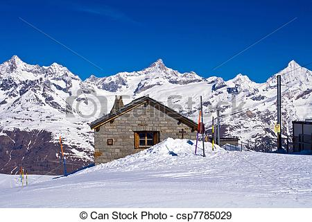Stock Photographs of Brick house at Matterhorn Alps,Gornergrat.