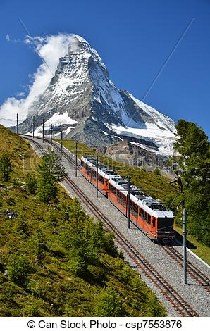 Stock Image of Gornergrat train and Matterhorn. Switzerland.