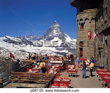 Stock Photo of Switzerland, Valais, Matterhorn and Gomergrat, ski.