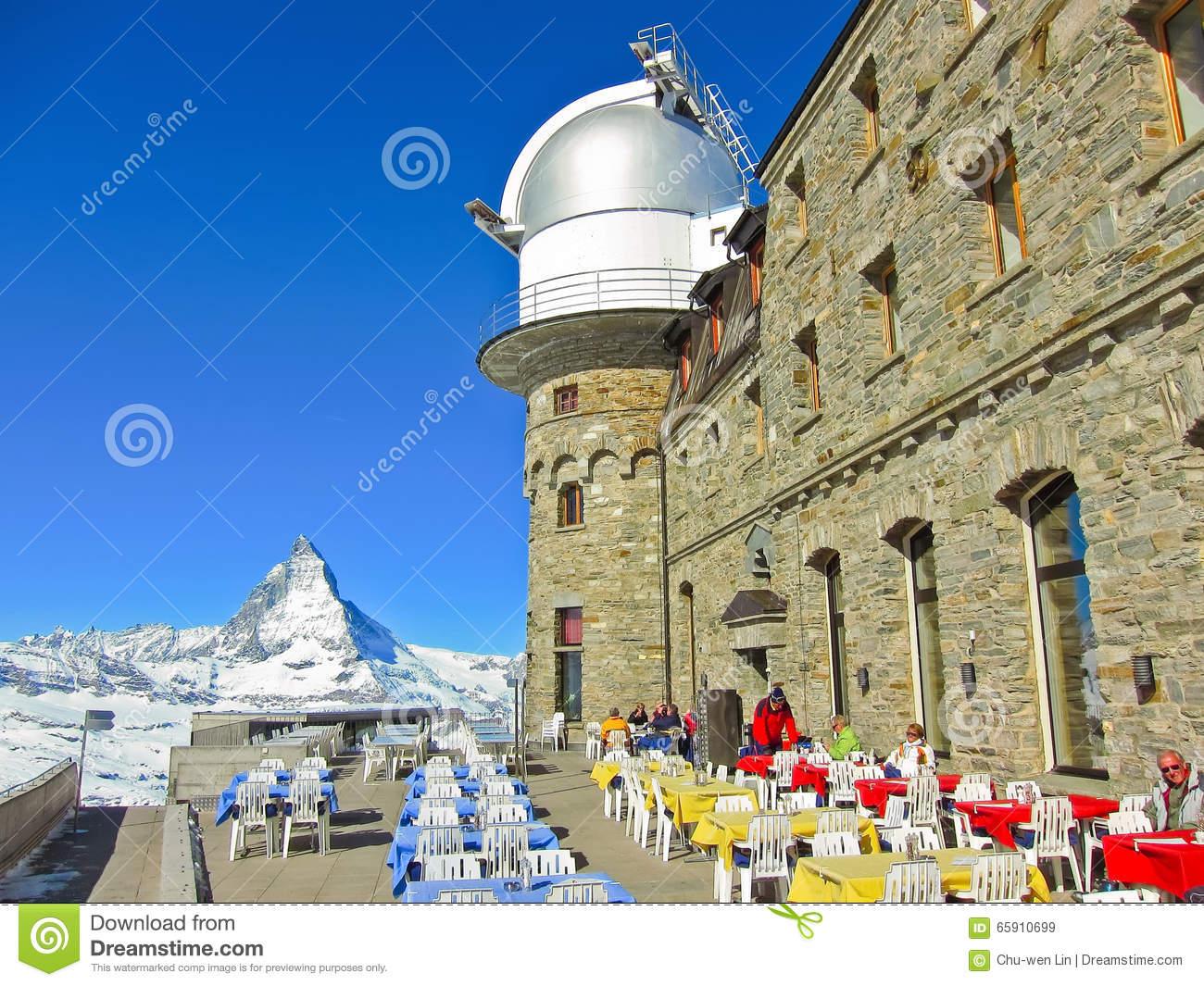 Matterhorn And The Gornergrat Kulm Hotel In Gornergrat, Zermatt.