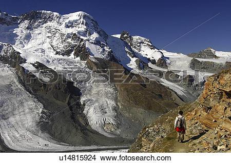 Stock Photo of glacier, peaks, matterhorn, klein, breithorn.