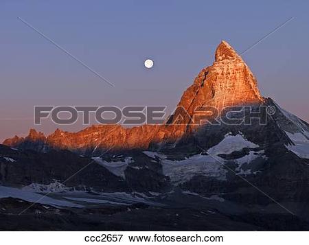 Picture of Switzerland, Valais, Zermatt, the Gornergrat,moon.